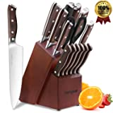 Chef Knife Set,15 Piece Knife set With Wooden Block,Wood Handle and German 1.4116 Stainless Steel,Full-Tang (Color: 1.4116 Stainless Steel Knife Set, Tamaño: 14 Piece Knives with Block)