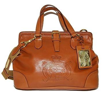 Polo Ralph Lauren Equestrian Womens Cognac Brown Purse Leather Purse Bag  Tote e1bcae6a50576