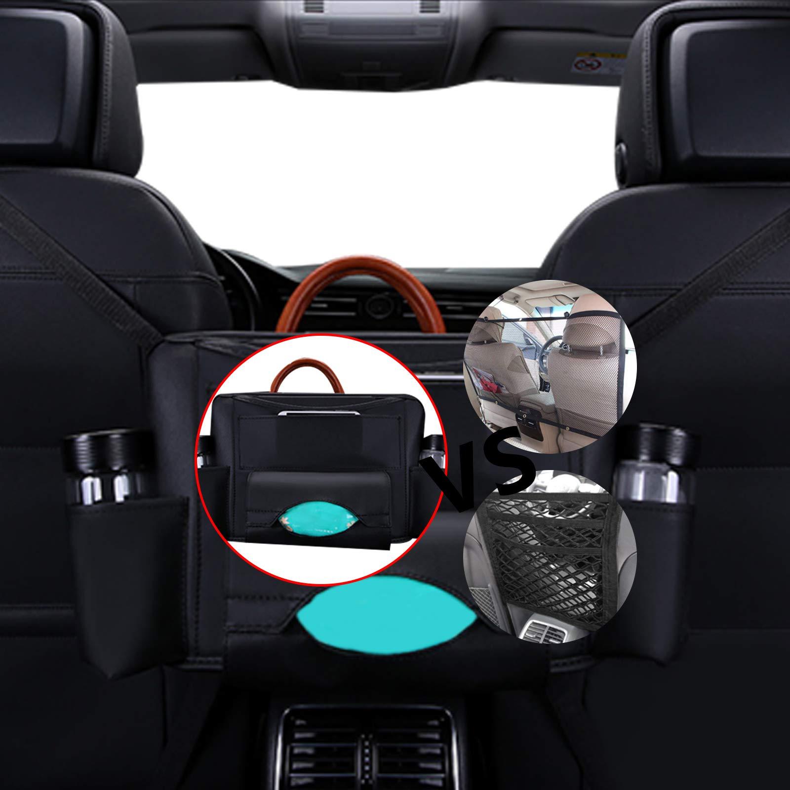 Ruesious Universal Autositz-Aufbewahrung, Netz/Organizer - Netz-Lagennetz Haken Beutel Halter für Tasche, Gepäck, Haustiere, Kinder