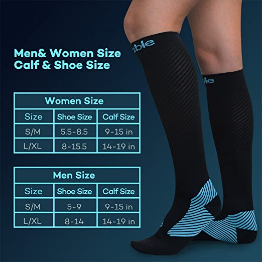 Amazon.com: Compression Socks for Women Men, Sable 1 Pair Stockings 20-30 mmHg High Sleeves Calf Athletic Fit for Nurses, Running, Hiking, Medical, ...