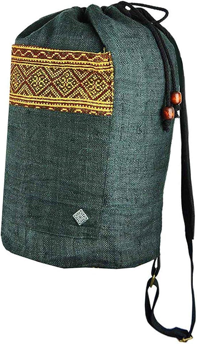 virblatt hemp string backpack shoulder bag with woven hill tribe patterns – Freiheit