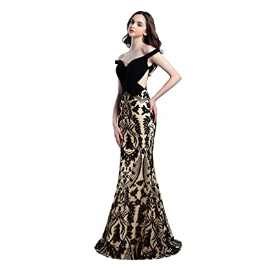 Katharina Shop Womens Prom Dresses Sequined Mermiad Off Shoulder Floor Length Evening Gowns FD054