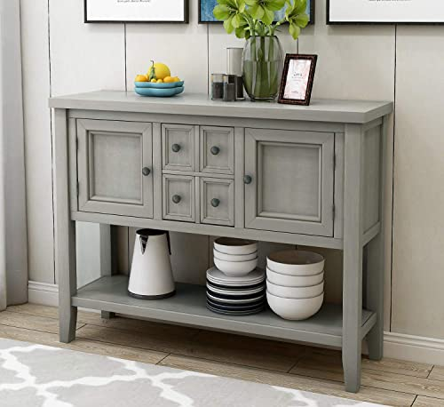 Wood Console Sofa Table with Storage Drawers and Bottom Shelf, WeYoung Console Tables for Entryway for Living Room Antique Grey