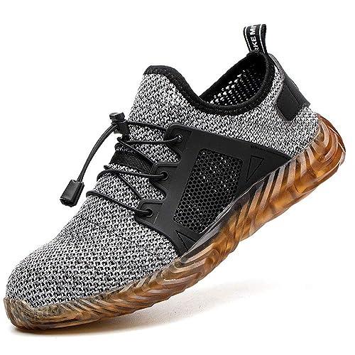 photos officielles ddb5f caade Puimentiua Basket Chaussure de Securité Homme Unisexes Chaussures de Sport  Légère Running Travail avec Embout de Acier Protection Légère Respirant