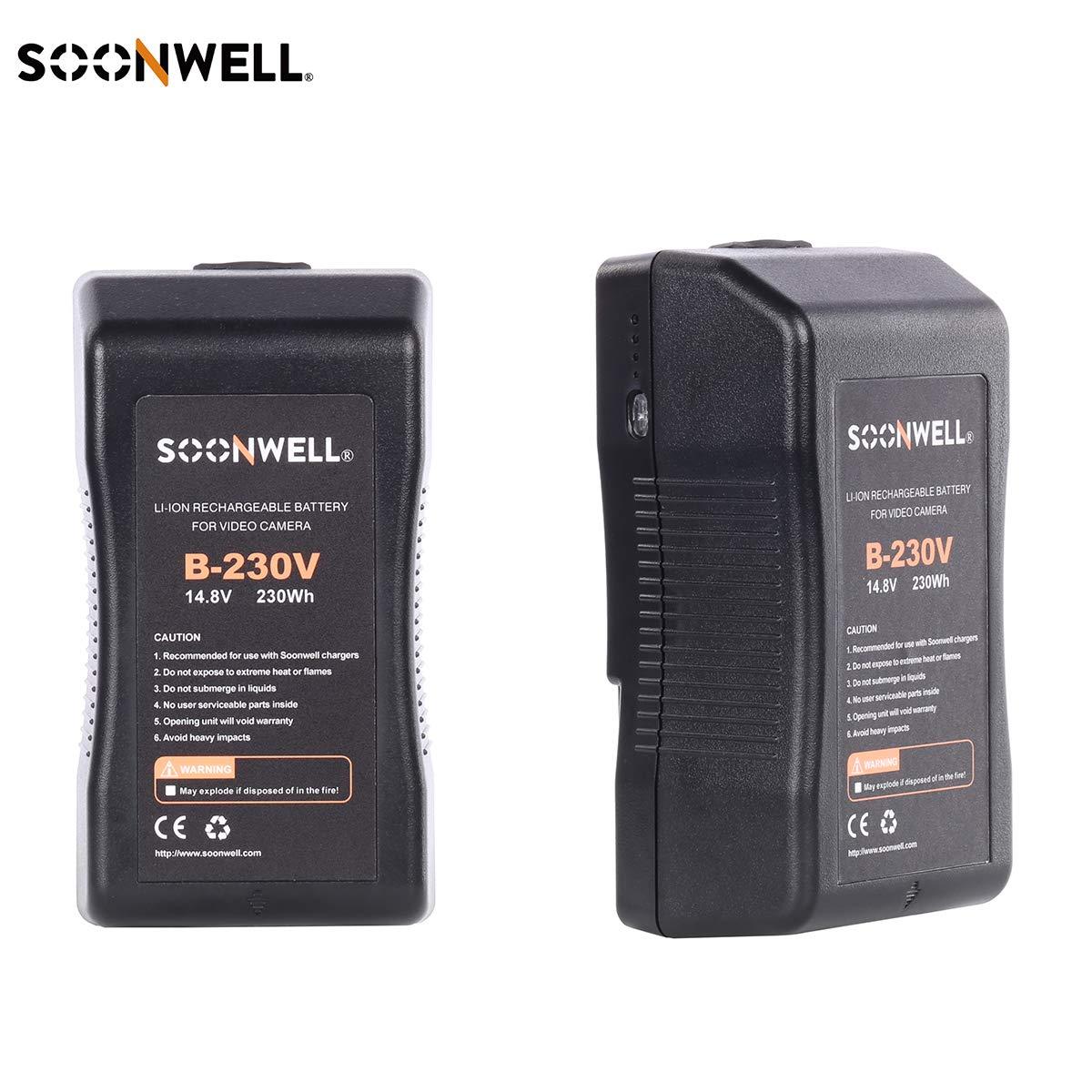 SOONWELL 230Wh 14.8V 充電式 V-マウント V-ロック リチウムイオン バッテリーパック 写真 ビデオ カメラ カムコーダー LED ライト モニター B07PJKGXRV