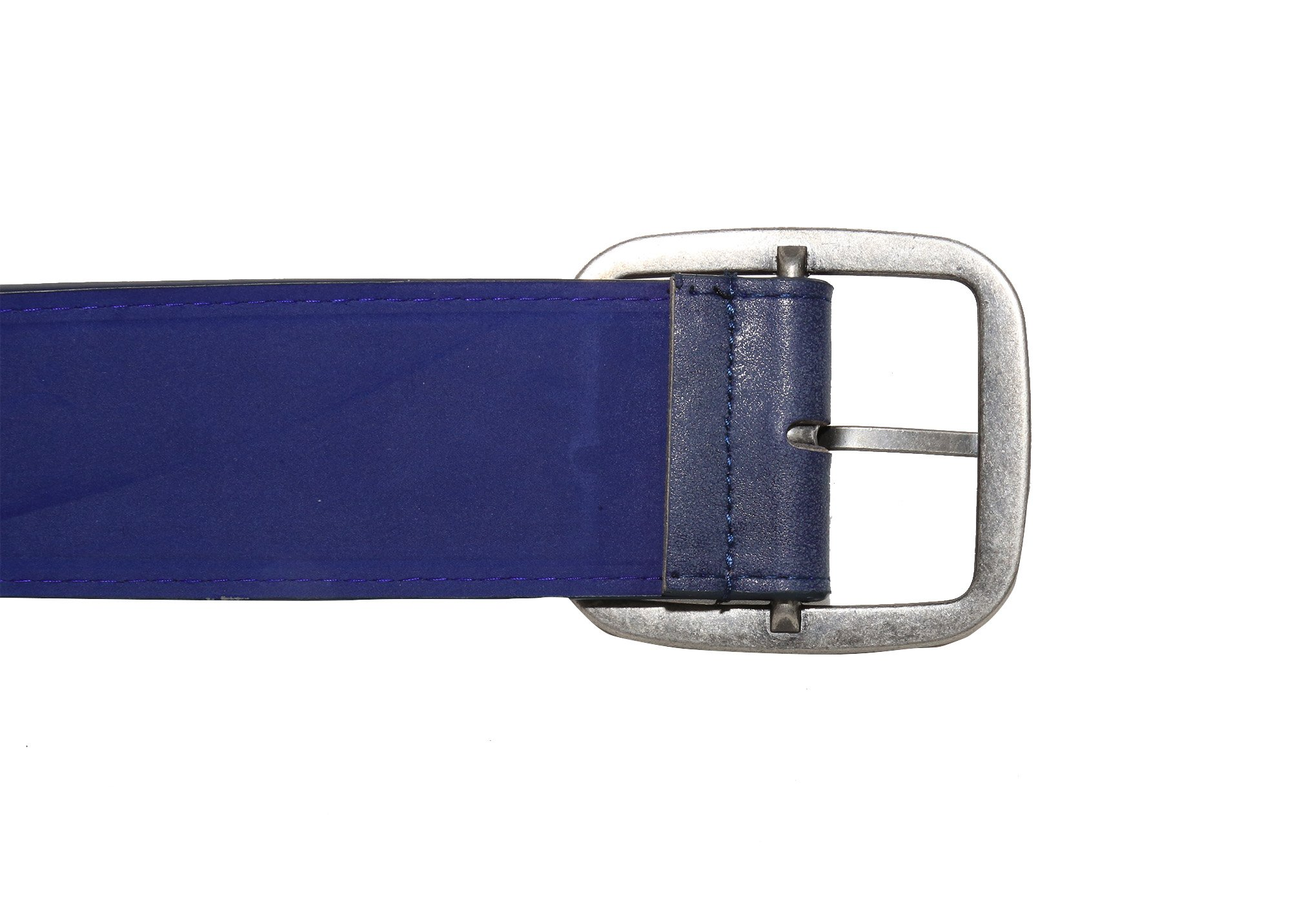 Modeway Women 2'' Wide Suede Leather Silver Square Buckle Adjustable Waist Belts (S-M, Navy-4#) by Modeway (Image #4)