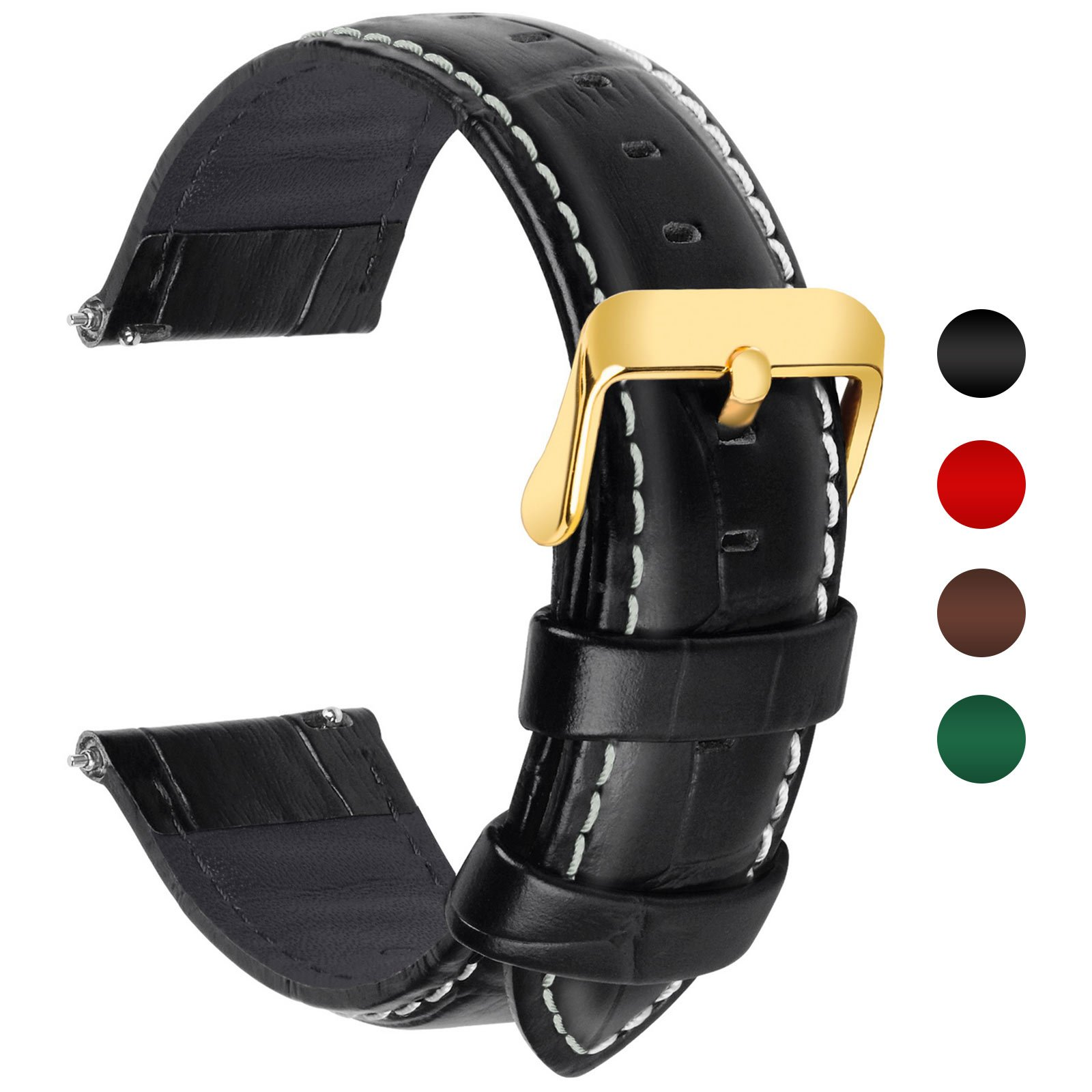 4 Colors for Quick Release Leather Watch Band, Fullmosa Band Replacement 18mm, 20mm, 22mm, 24mm Watch Strap, 18mm Black-Bamboo by Fullmosa