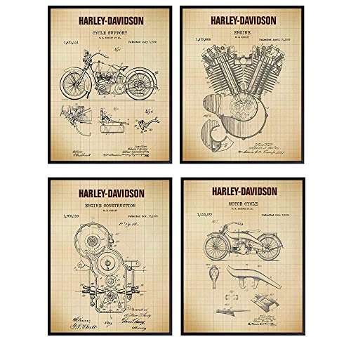Harley Motorcycle Patent Vintage Art Blueprint office decor Wall Art Harley Motorcycle Poster Print Poster Decor PH77 #m