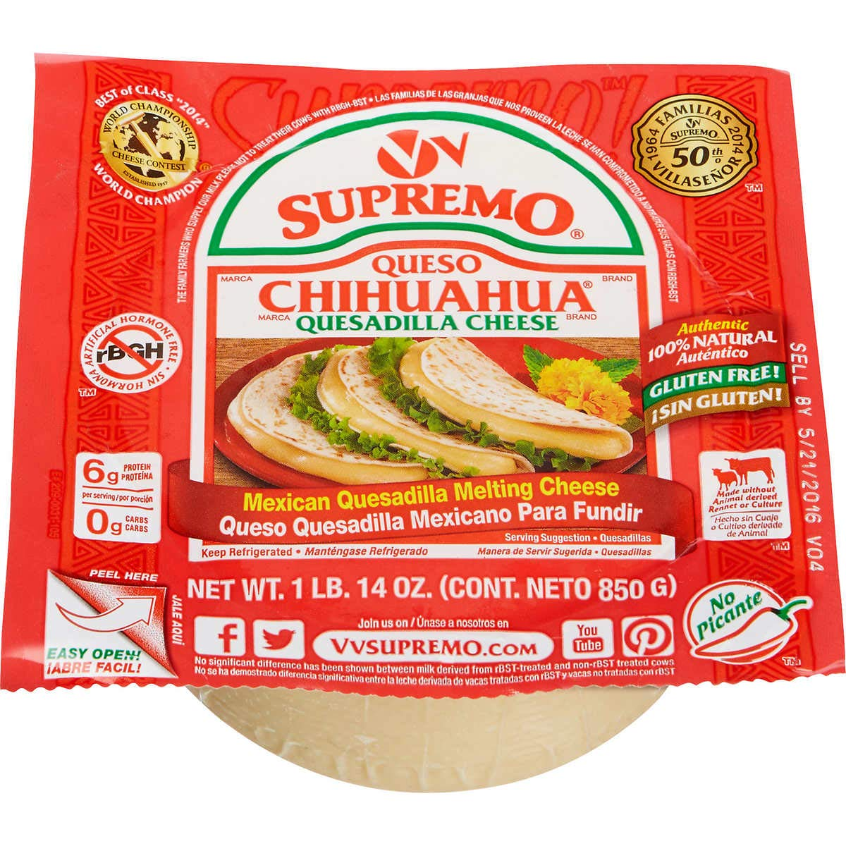 V&V Supremo Foods Queso Chihuahua Mexican Style Melting Cheese, 30 oz by V&V Supremo Foods (Image #1)