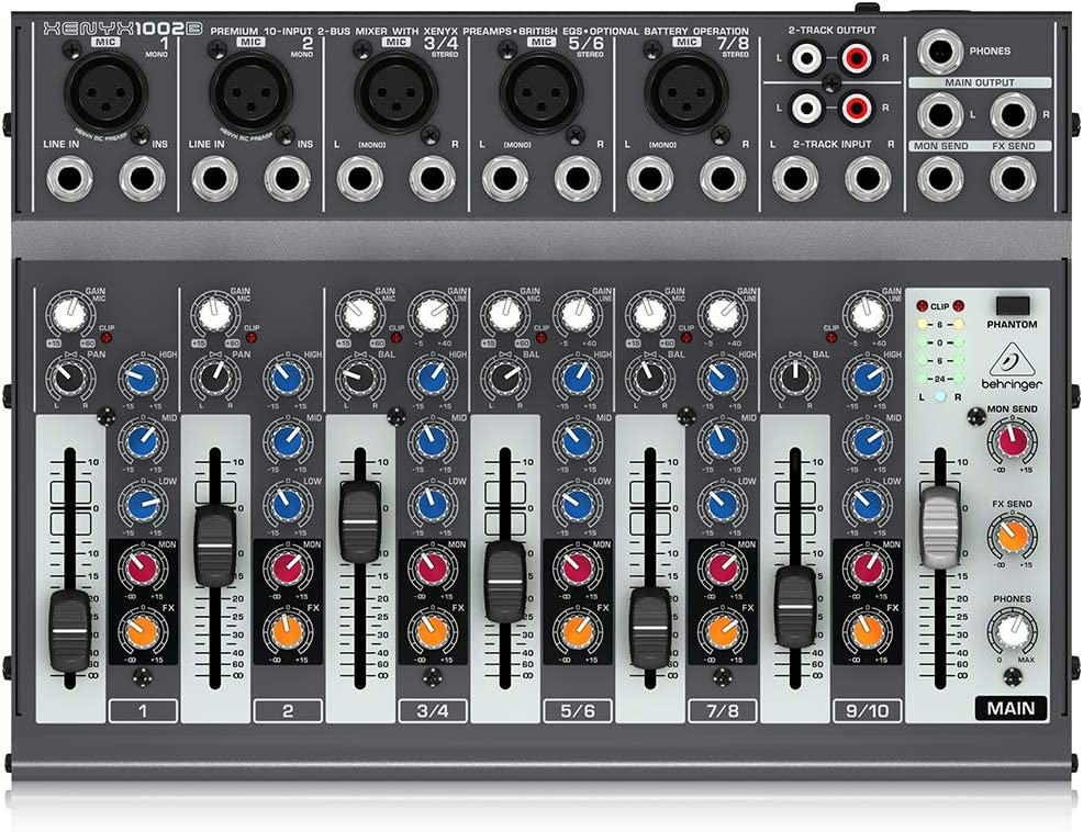 B0027B41P0 Behringer Xenyx 1002B Premium 10-Input 2-Bus Mixer with XENYX Preamps, British EQs and Optional Battery Operation 71Qq66S5foL.SL1000_