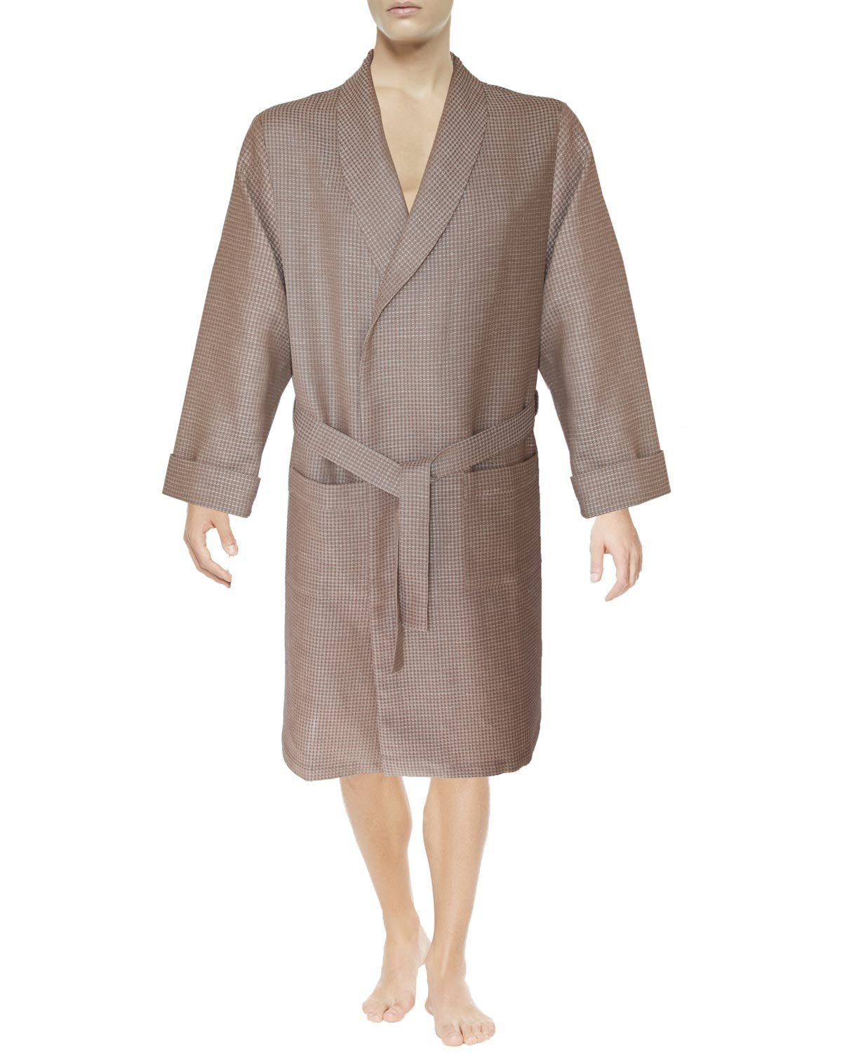 Armani International Linen Cotton Textured Waffle Weave Robe Slippers Set X-Large, Light Brown-Beige - Perfect Wedding Gift! Gift Packaging | Made in Europe by Armani International