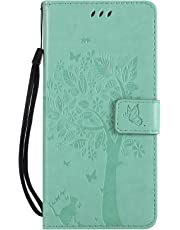 Thoankj Sony Xperia L3 Case 2019, PU Leather Flip Notebook Wallet Cover Embossed Cat Tree with Magnetic Stand Card Holder Slot Folio Soft TPU Bumper Protective Case for Sony Xperia L3