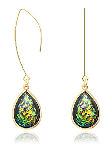 2b9d05ab0 Buy KristLand - Gold Tone Chain Hang Oval Form Alloy Acrylic Stone Handmade  Long Pendant Tassel Drop Earrings Dangle Green Online at Low Prices in  India ...