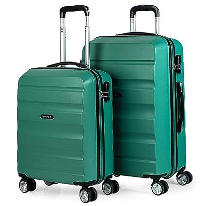 ITACA - Juego Maletas de Viaje Rígidas 4 Ruedas Lisas Trolley 55/67 cm ABS. Resistentes y Ligeras. Candado. 2 Tamaños: Pequeña Cabina 55X40X20 cm y ...
