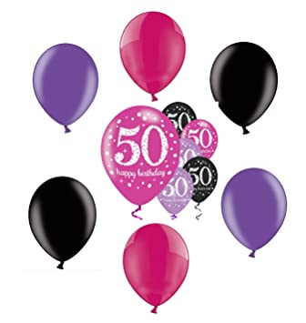 Party Birthday Decoration 50th 12pcs Pink Black Purple Balloons Set Best Wishes Amazoncouk Toys Games