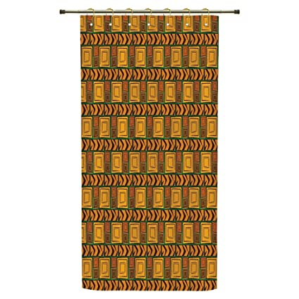 IPrint Shower CurtainZambiaKenya Ethnic Motif With Geometrical Aztec Native American Effects Print
