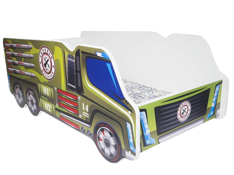 TODDLER CHILDREN KIDS BED INCLUDING MATTRESS CAR TRUCK (Military Truck) Topbeds