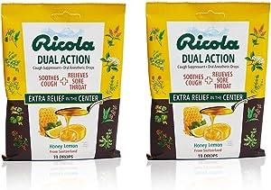 Ricola Dual Action Honey Lemon Herbal Cough Suppressant Throat Drops, 19ct Bag (Pack of 2)