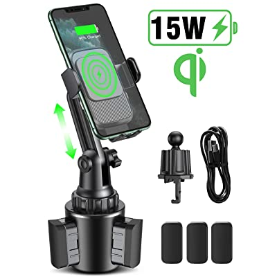 15W Wireless Car Charger Cup Holder, Miracase 2-in-1 Universal Cell Phone Holder Cup Holder Phone Mount Car Air Vent Holder for iPhone, Samsung, Moto, Huawei, Nokia, LG, Smartphones