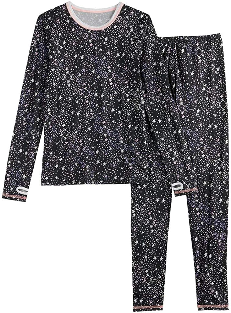 Girls Winter Base-Layer Thermal Underwear top and Bottom Set with Thumbhole