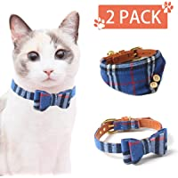 Vailge Adjustable Cat Collar with Bell and Bowtie, Cat Bandana Collar, Pet Collar for Kittens Puppies, Blue 2 Pack