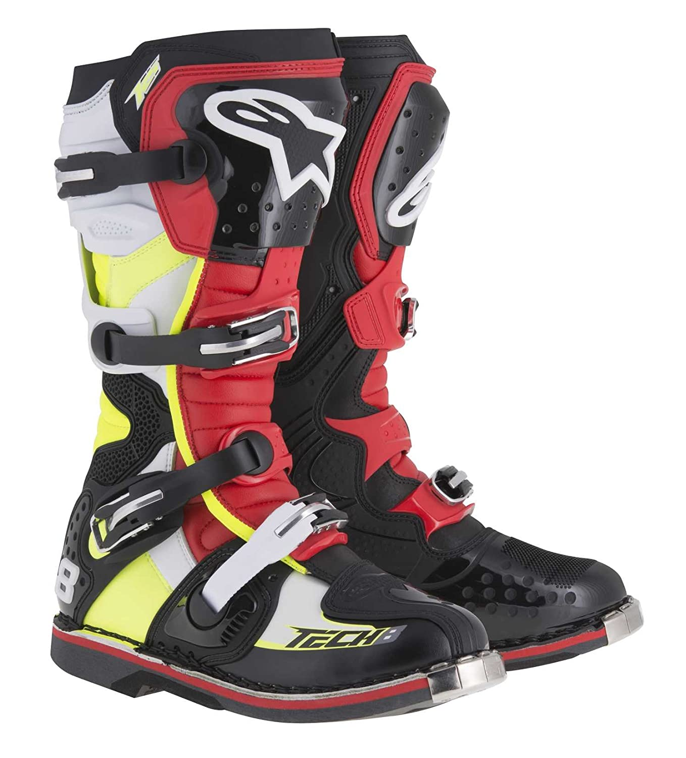 Black//Red//Yellow//White, Size 15 Alpinestars Unisex-Adult Tech 8 RS Boots 2011015-1362-15