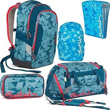 73df92e0f1eee Satch SLEEK Petrol Triangle 5er Set Schulrucksack + Sporttasche +  Schlamperbox + Regencape blau + Heftebox