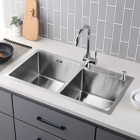 Kaibor Lavello Lavabo In Acciaio 304 Inox Cucina Per Mobile Base 80 Cm Con 2 Fori