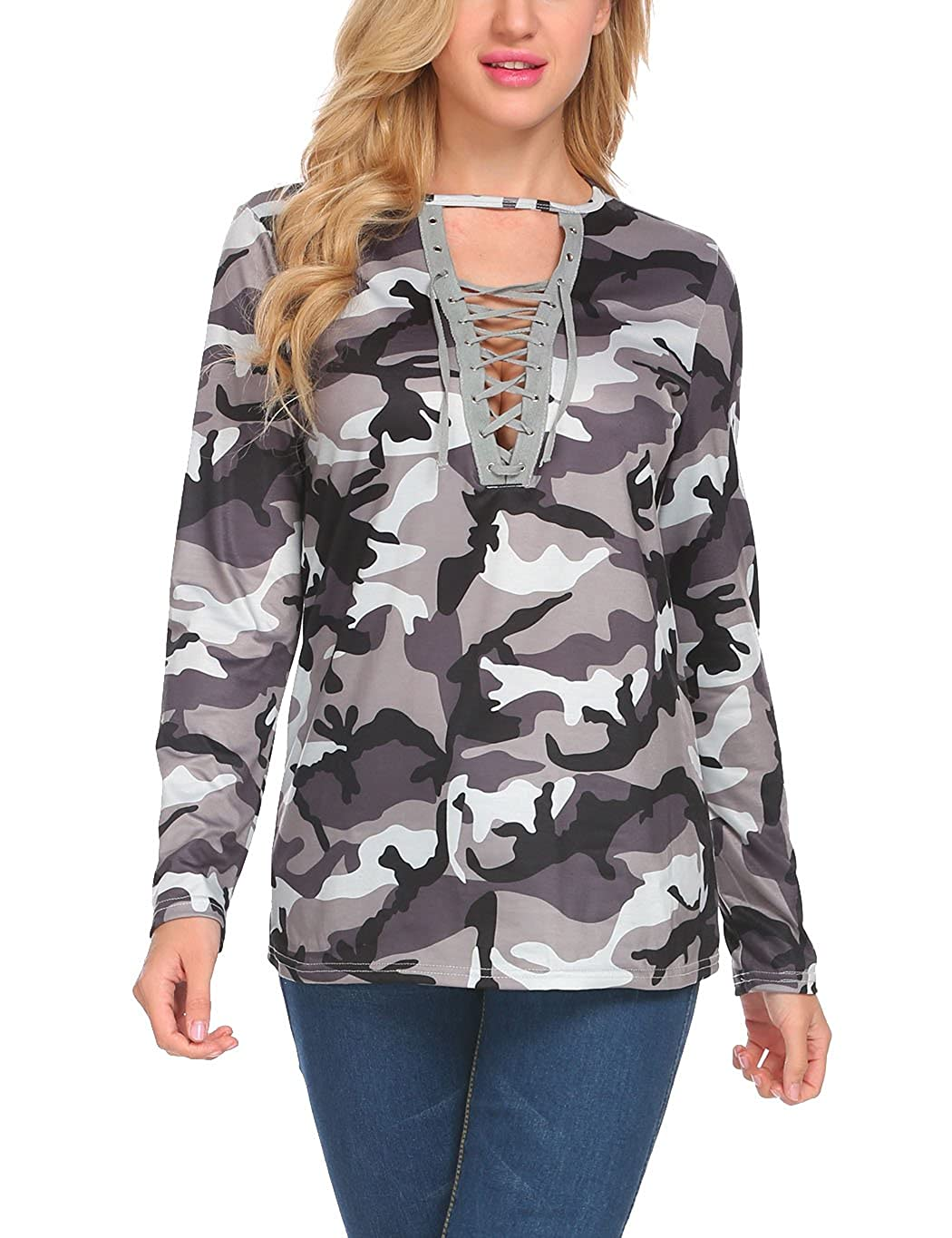 72721bad38c88c Women s Camouflage Long Sleeve Lace Up Casual Shirt Blouse Top (M ...