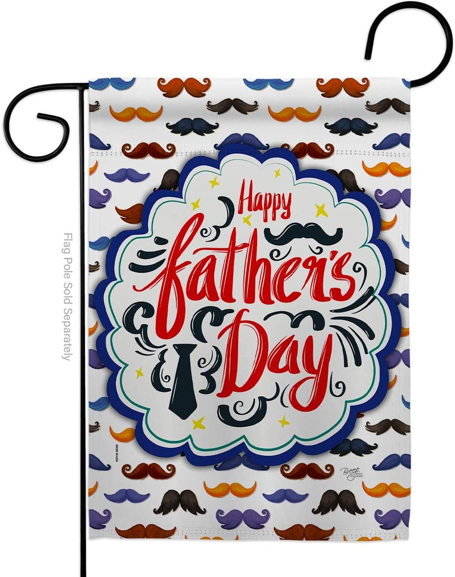 Happy Father's Day Mustache Garden Flag - Family Dad Daddy Papa Grandpa Best Parent Sibling Relatives Grandparent - House Decoration Banner Small Yard Gift Double-Sided Made In USA 13 X 18.5