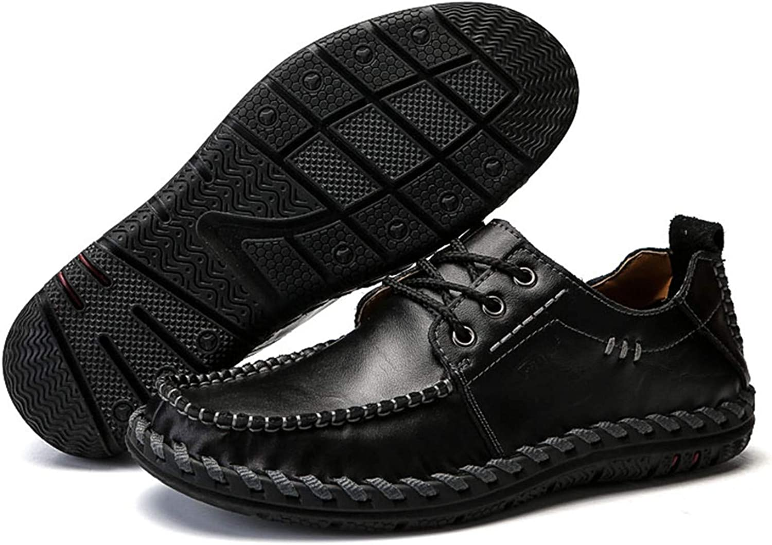 Loafers Men Shoes Casual Male Shoes Lace Men Leather Shoes Designer Leather Flat Shoes Black 8