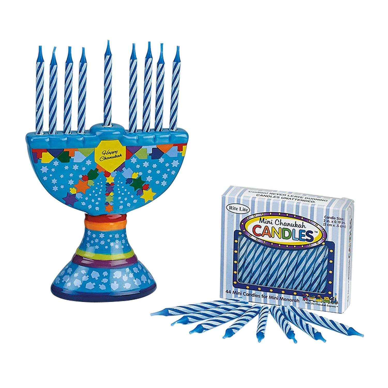 4.25 Hand Painted Colorful Ceramic Chanukah Hanukkah Menorah with Candles Rite Lite 21299020