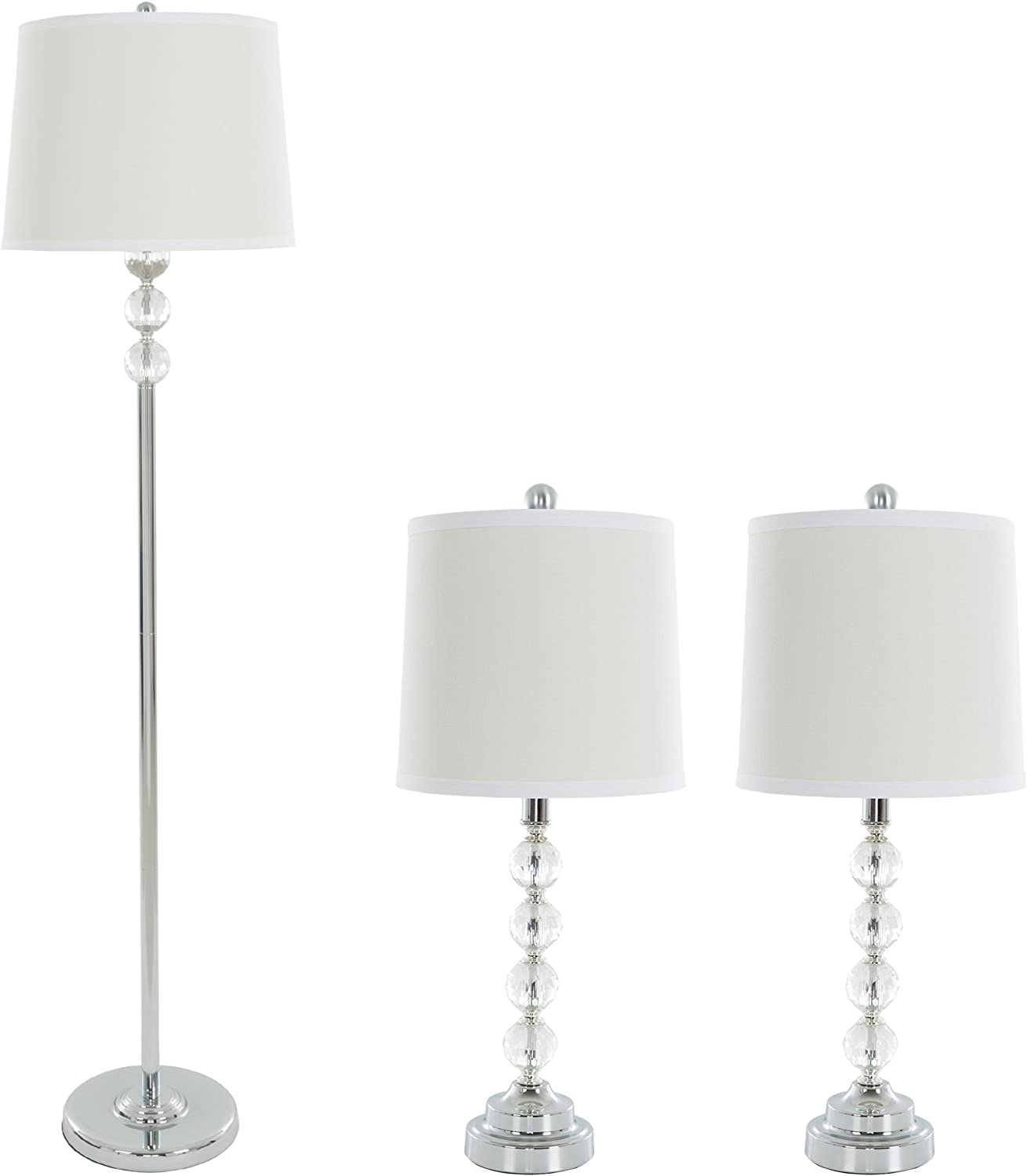Table Lamps And Floor Lamp Set Of 3 Faceted Crystal Balls 3 Led Bulbs Included By Lavish Home Table Lamps Amazon Canada