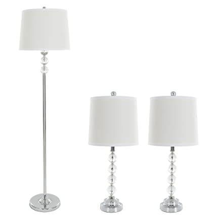 Table Lamps And Floor Lamp Set Of 3 Faceted Crystal Balls 3 Led