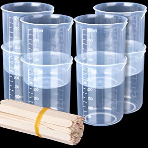 8 Pack 300ml Liquid Measuring Mixing Cups for Epoxy Resin, LEOBRO Graduated Plastic Measuring Cups for Resin, Multipurpose Mixing Cups for Resin Epoxy Paint Food, Lab Use, with 50 PCS Mixing Sticks