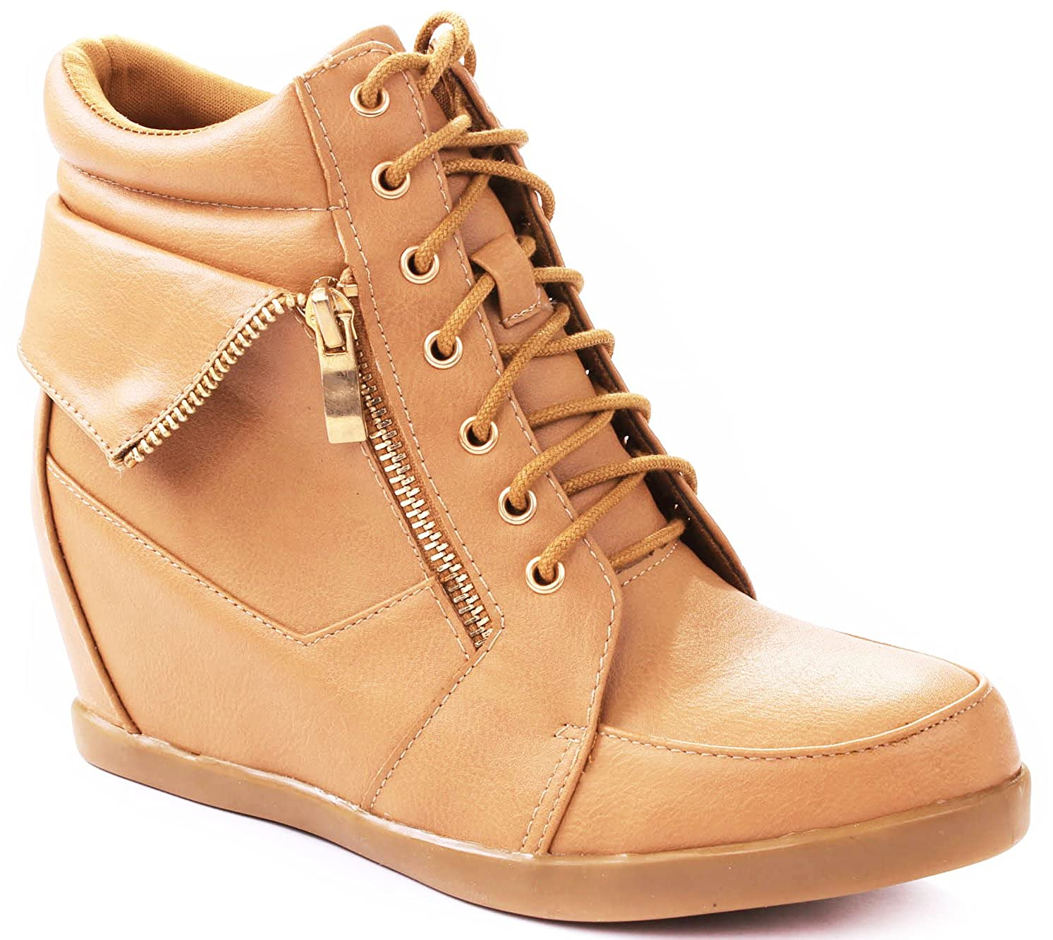 Lucky Top Girls Peter-30K Kids Fashion Leatherette Lace-Up High Top Wedge Sneaker Bootie