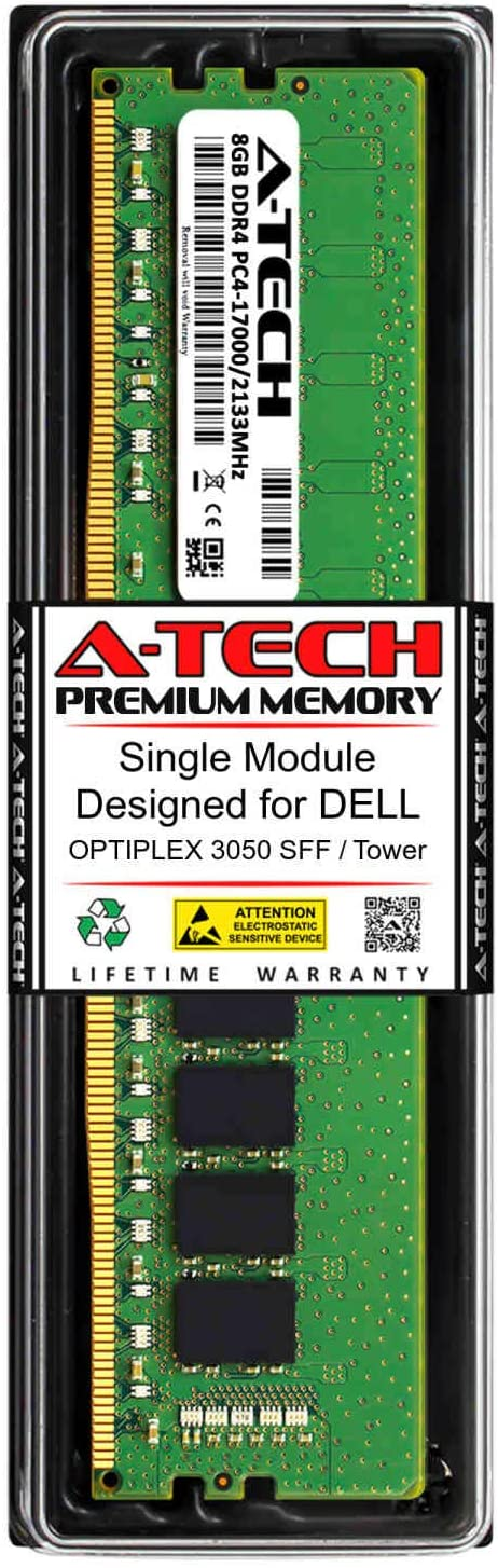 A-Tech 8GB RAM for DELL OPTIPLEX 3050 SFF/Tower | DDR4 2133MHz DIMM PC4-17000 288-Pin Non-ECC UDIMM Memory Upgrade Module