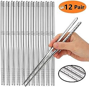 KYONANO Chopsticks 12 Pairs, Chopsticks Reusable, Metal Chopsticks, Dishwasher Safe, Premium 304 Stainless Steel, Lightweight Non-Slip Easy to Hold Chop Stick Utensils