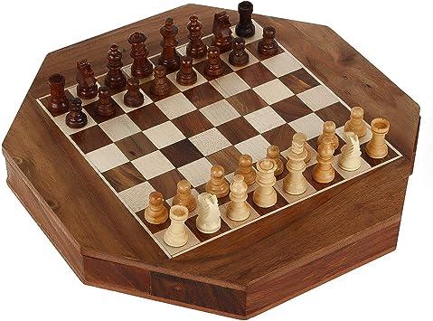 Zap Impex® Madera Magnético Octángulo Forma Ajedrez Figuras Juego y Tablero de Madera Juegos de Viaje 7 Pulgadas de ajedrez: Amazon.es: Juguetes y juegos
