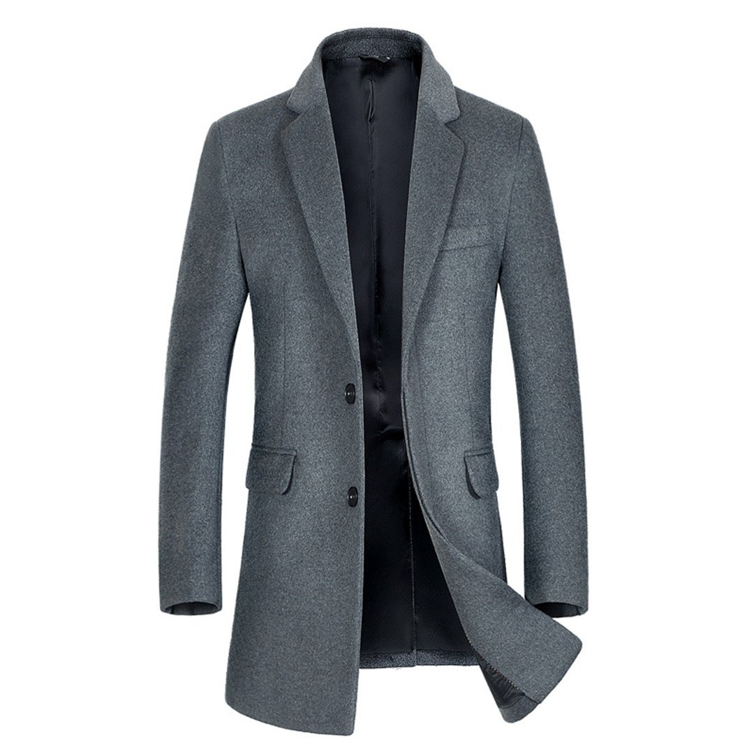 Giosnasm Mens New Mens Hair Coat Trench Coat Single-Breasted Pea Coat Trench Coat at Amazon Mens Clothing store: