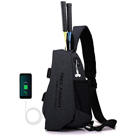 FREE KNTGHT Sling Chest Bag Shoulder Crossbody Backpacks Triangle Rucksack with USB Charging Port and Headphone Port for Outdoor Hiking Casual Men Women