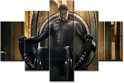 5 Panel Black Panther Super Hero Wall Art Picture