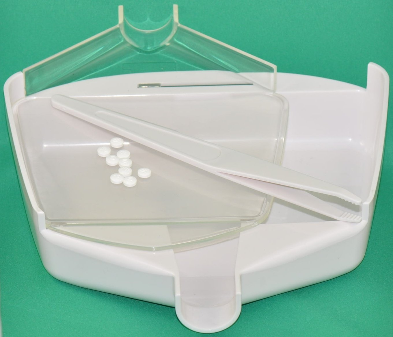 Duocount Professional Patented Pill Counting Tray with Tweezer Spatula