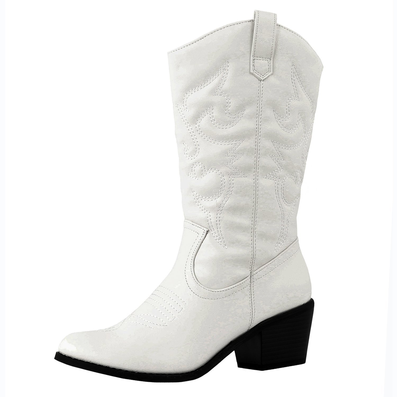 DEV Latest Hot Fashion Mid Calf Women 1 Cow Boy Western Slauchy Casual Chunky Heel Boot Shoes