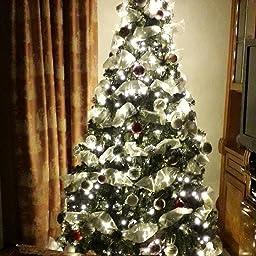ANSIO Cadena Luces de Navidad 200 LED Blanco cálido Interior/Exterior Luces de árbol luces de hadas alimentadas red 20 M de longitud de luz con Cable verde: Amazon.es: Iluminación
