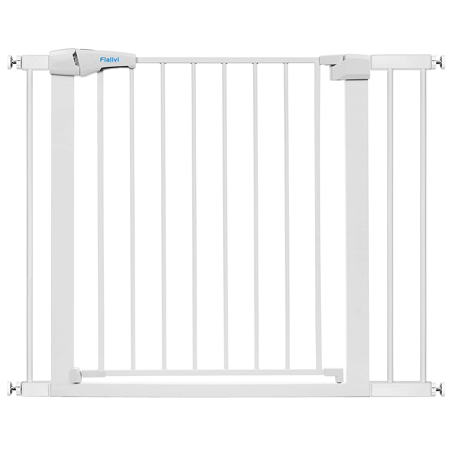 """Flalivi Auto Close Safety Baby Gate, Easy Walk Thru Durability Child Gate for Doorways,Stairs. Includes 2.75"""" and 5.5"""" Extension, 4 Pack Pressure Mounts and 4 Pack Wall Cups"""