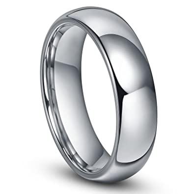 6MM Tungsten Mens Plain Dome Wedding Band Ring Sz 40