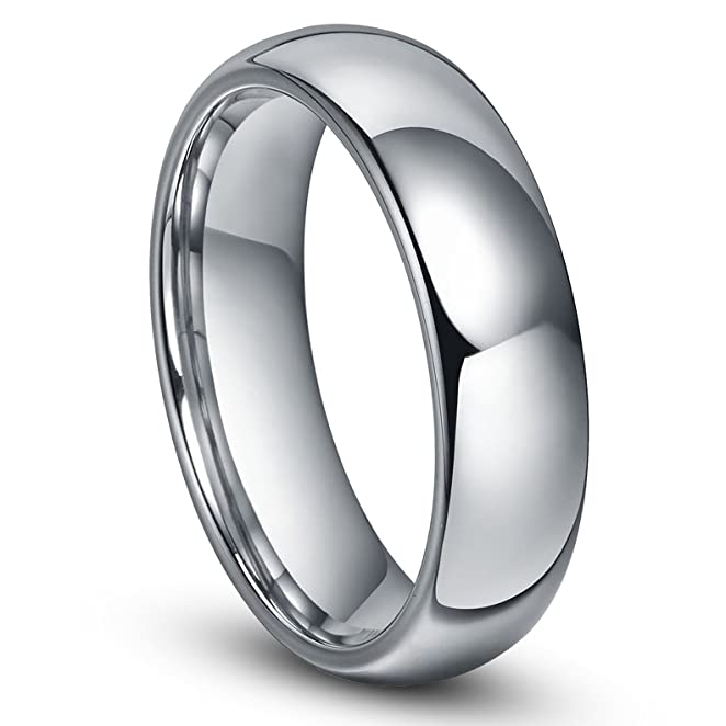 6MM Tungsten Mens Plain Dome Polished Wedding Band Ring Size 416
