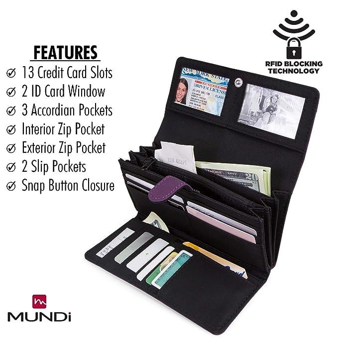 Mundi File Master - Cartera de bloqueo RFID para mujer con ...