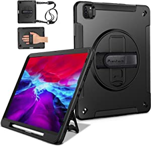 Miesherk iPad Pro 12.9 Case 2020 4th Generation/ 2018 3rd Gen (Wireless Apple Pencil Charging) Military Grade Shockproof Full-Body Protective Cover with 360° Rotating Stand&Hand/Shoulder Strap Black